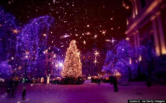 White christmas in the old town Ljubljana
