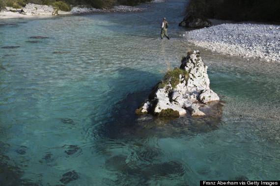 Fishing in Soca river, Slovenia