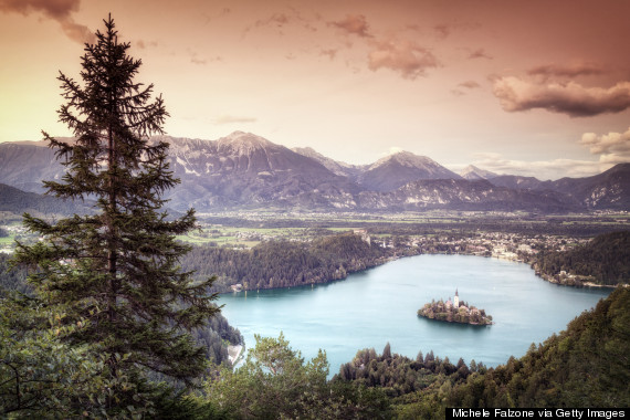 Aerial view of Lake Bled and Julian Alps at sunset